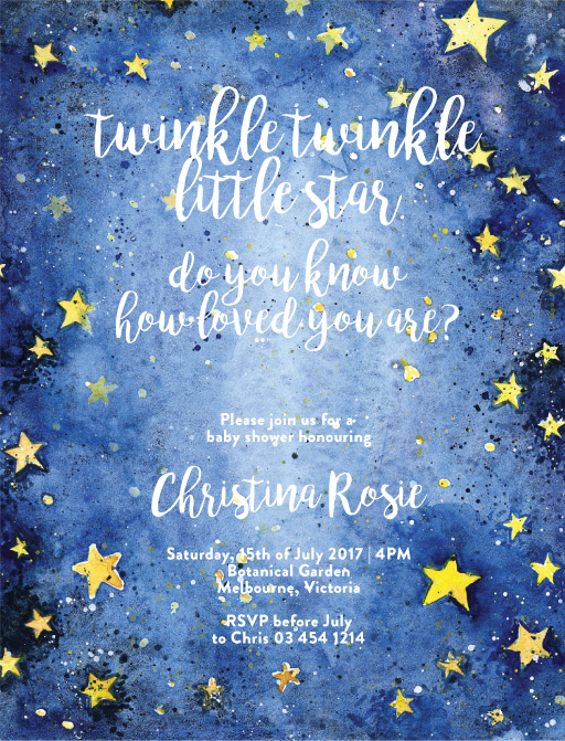 Twinkle - baby shower invitations