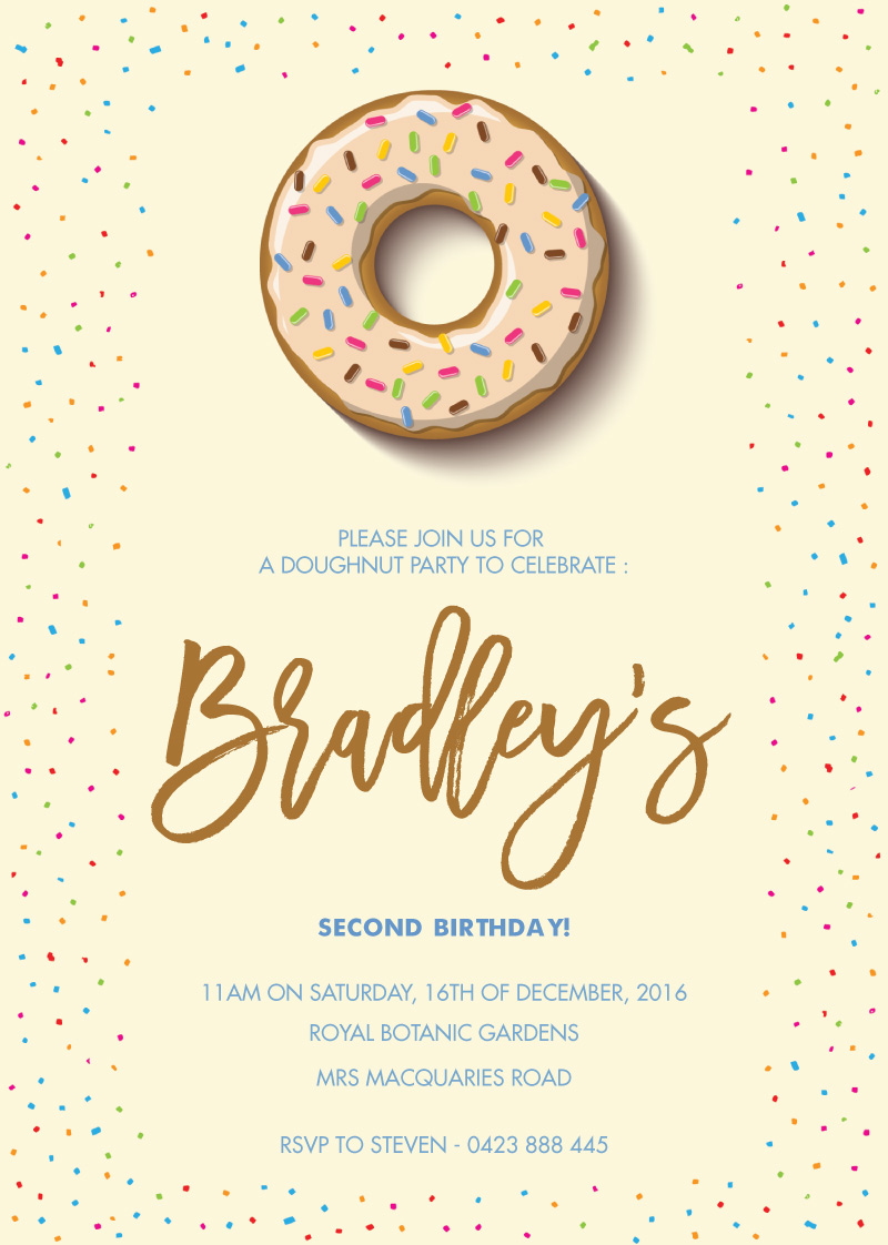 Sprinkles Doughnut - Birthday Invitations