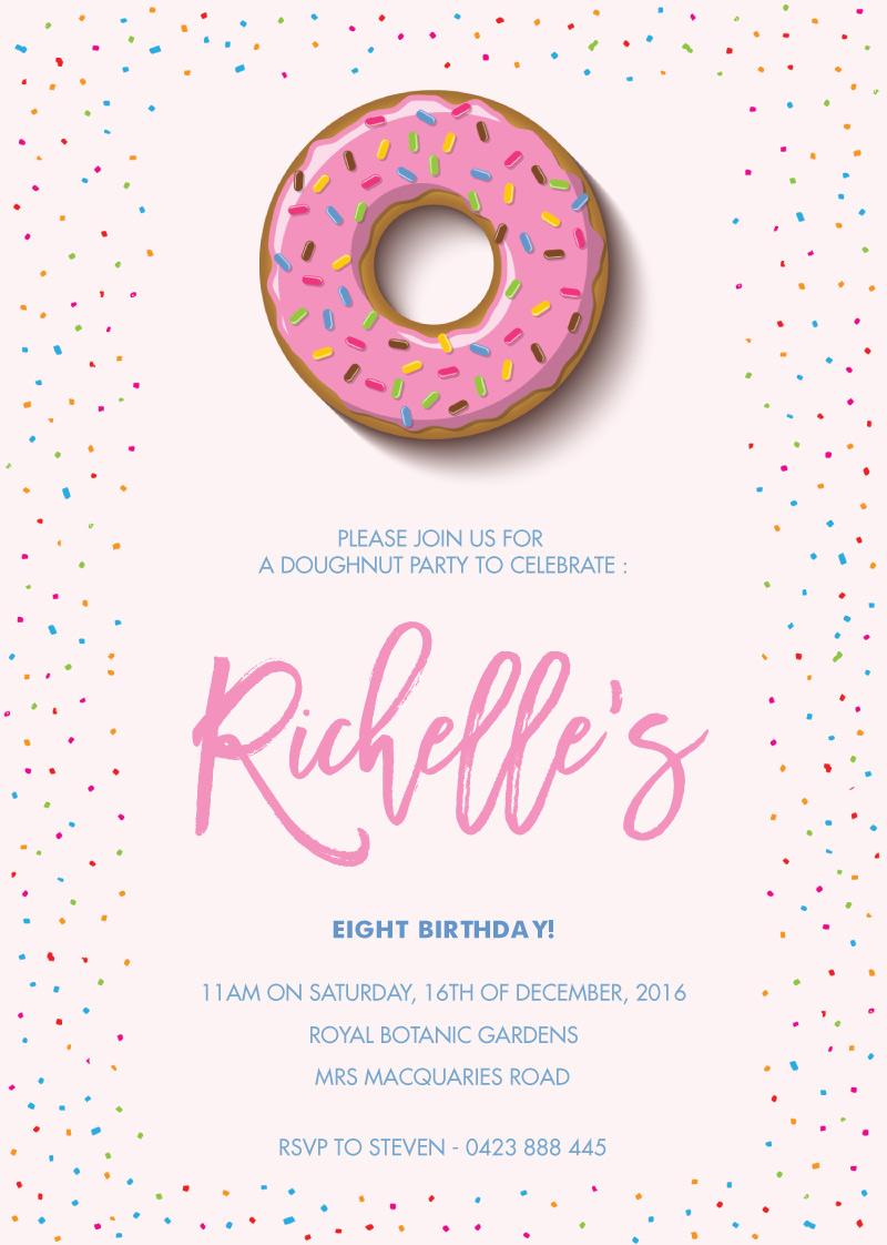 Sprinkles Doughnut - Birthday Invitations