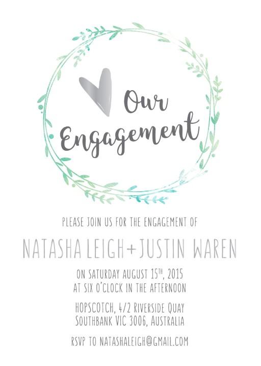 Leaf Wreath - engagement invitations