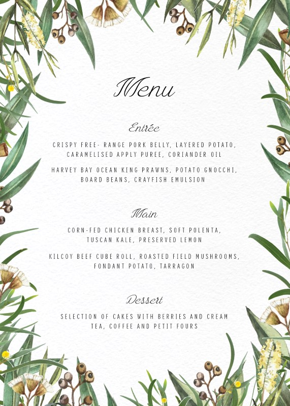 A Bouquet - Menu Card