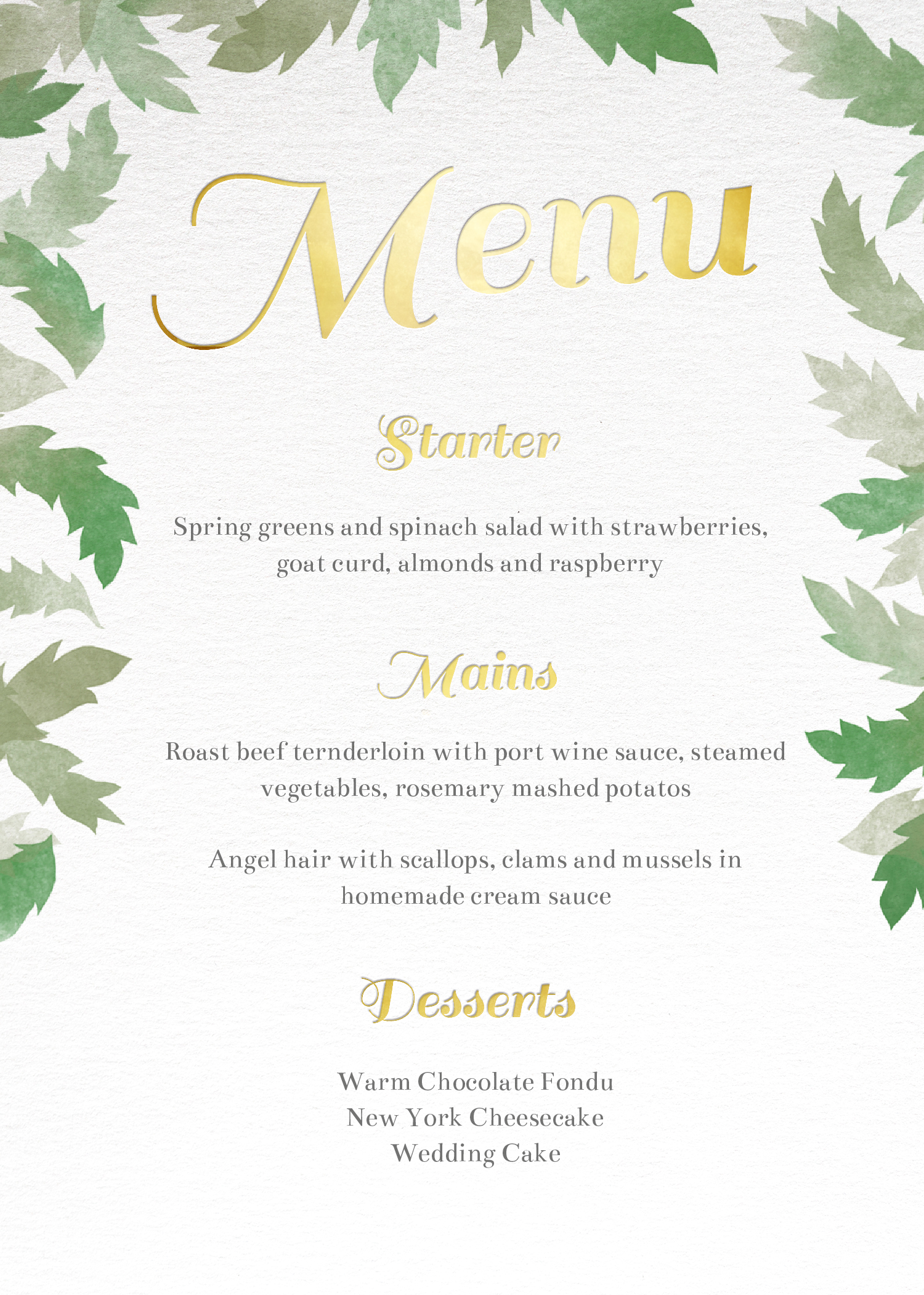 Dreamy - Menu