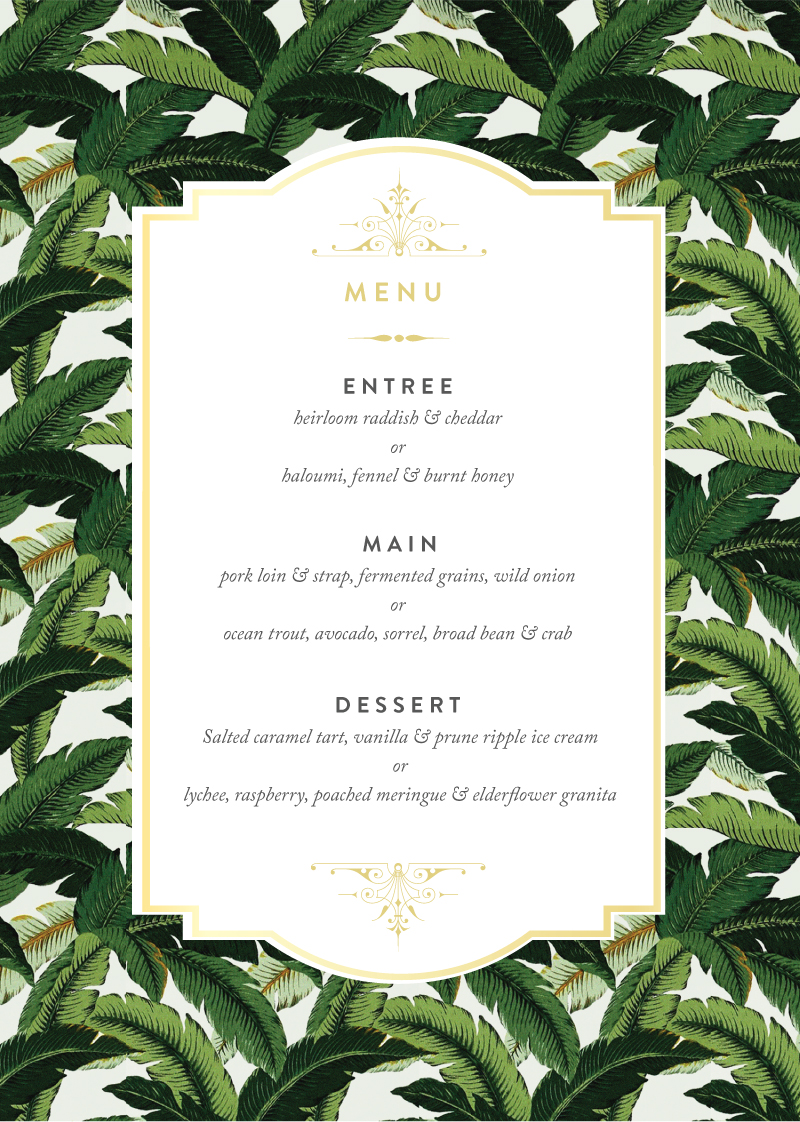 Beverly Hills Hotel - Menu Card