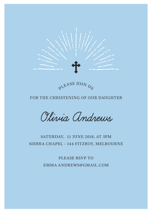 Sweet Blue - Christening Invitations