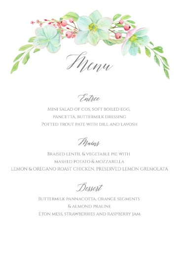 Hellebore - Wedding Menu