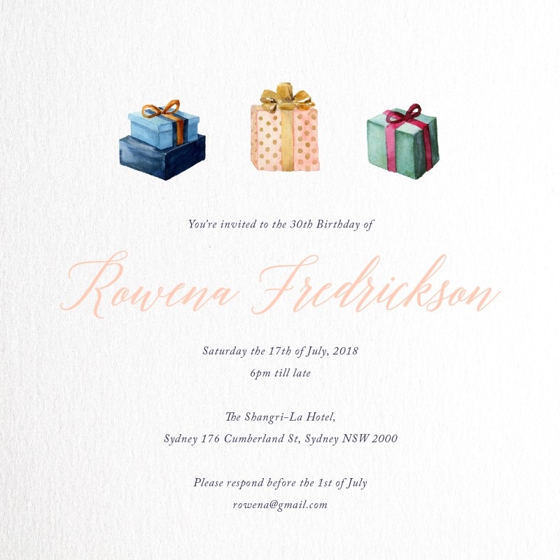 Present - Birthday Invitations
