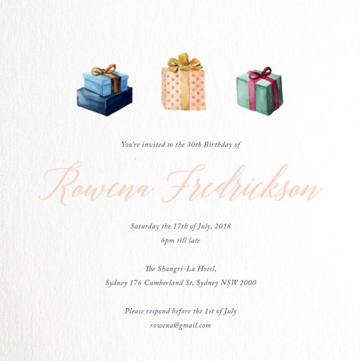 Present - Birthday Invitations