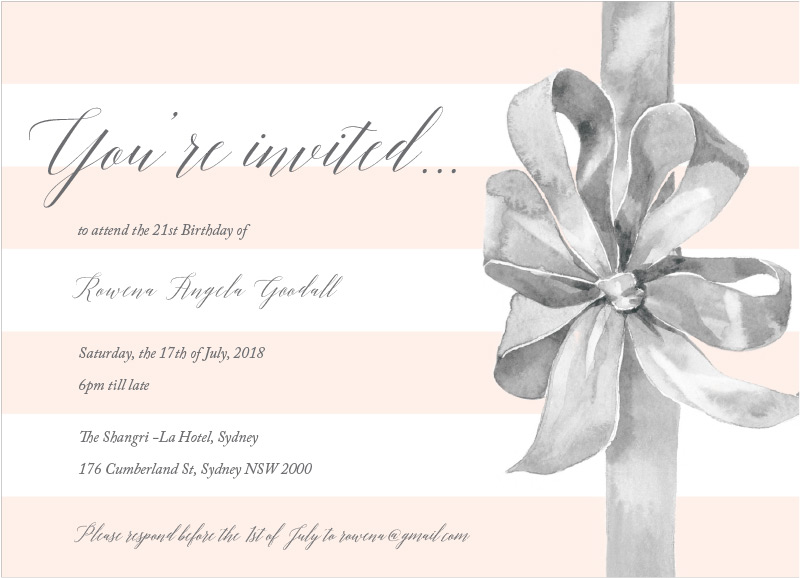 Birthday Ribbon - Birthday Invitations