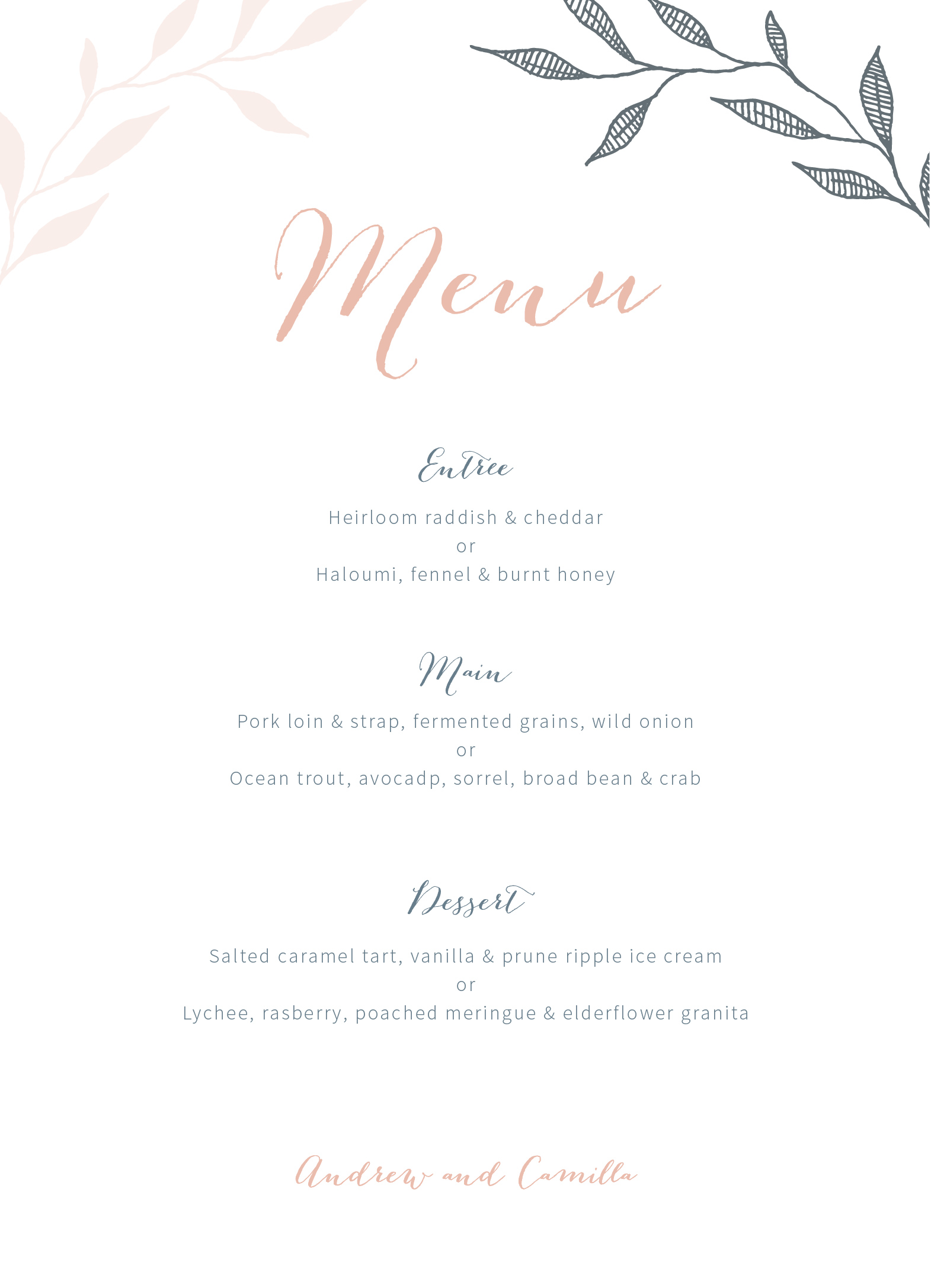 Leaves - Menu Card