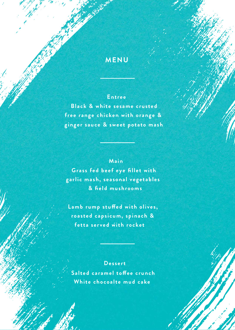 White Paint - Menu Card