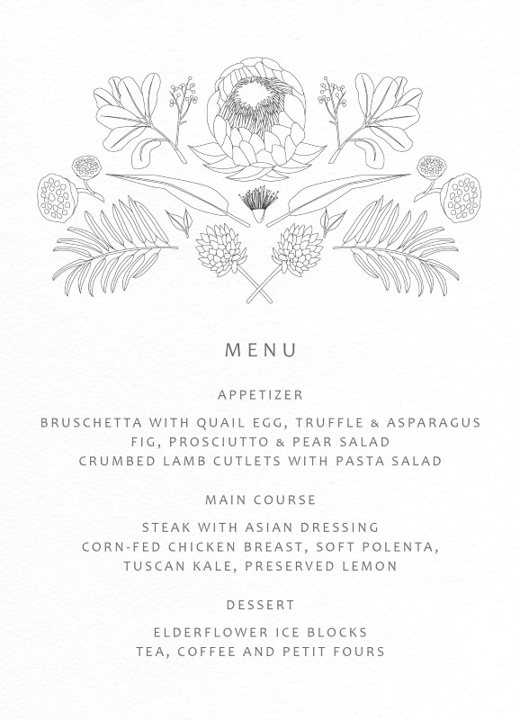 Australian Native Colour In - Menu Card