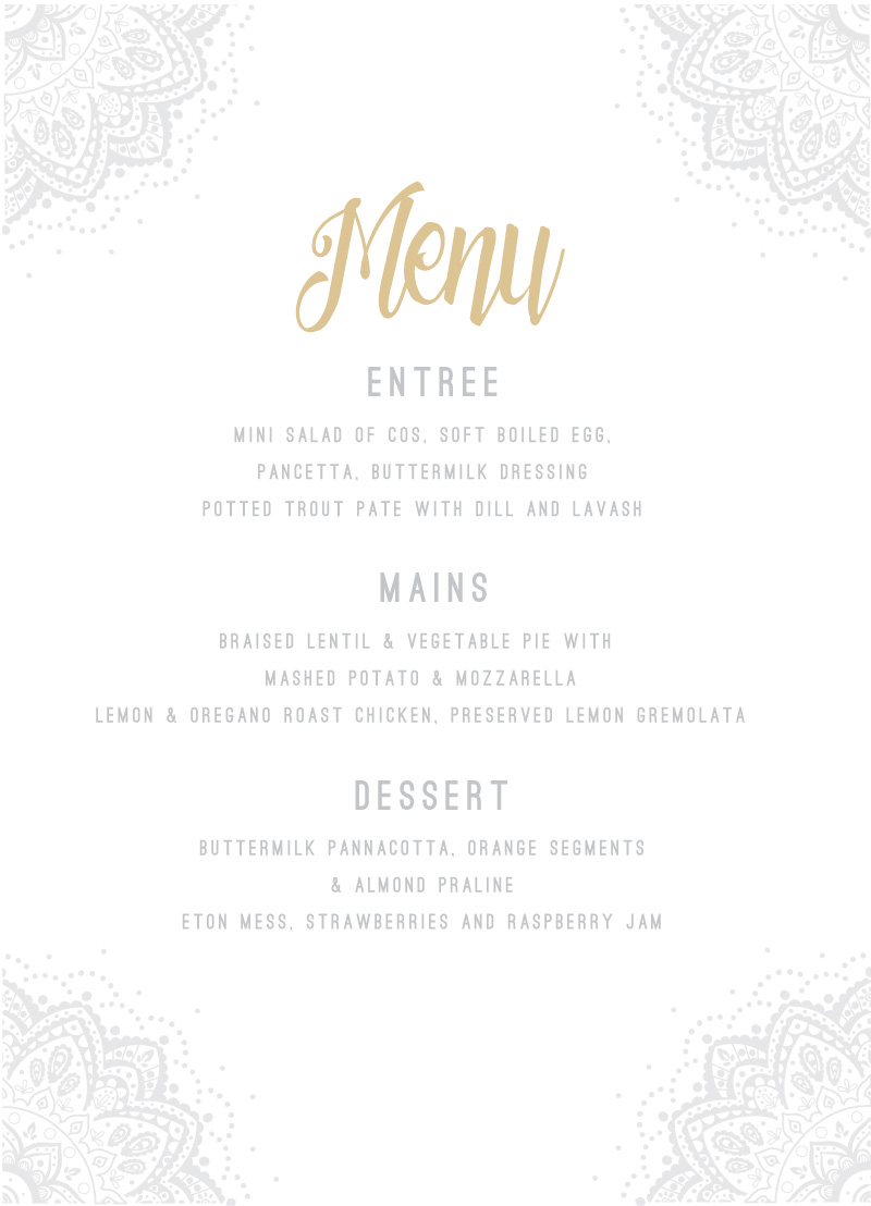 Elegant Collection - Menu