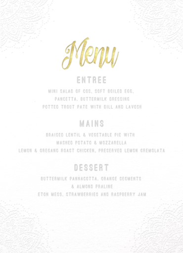 Elegant Collection - Wedding Menu