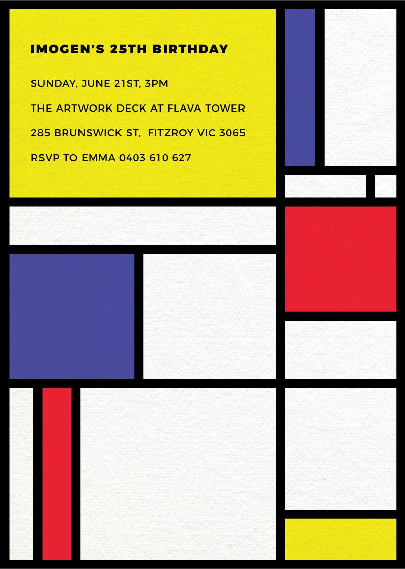 Birthday Mondrian - Birthday Invitations
