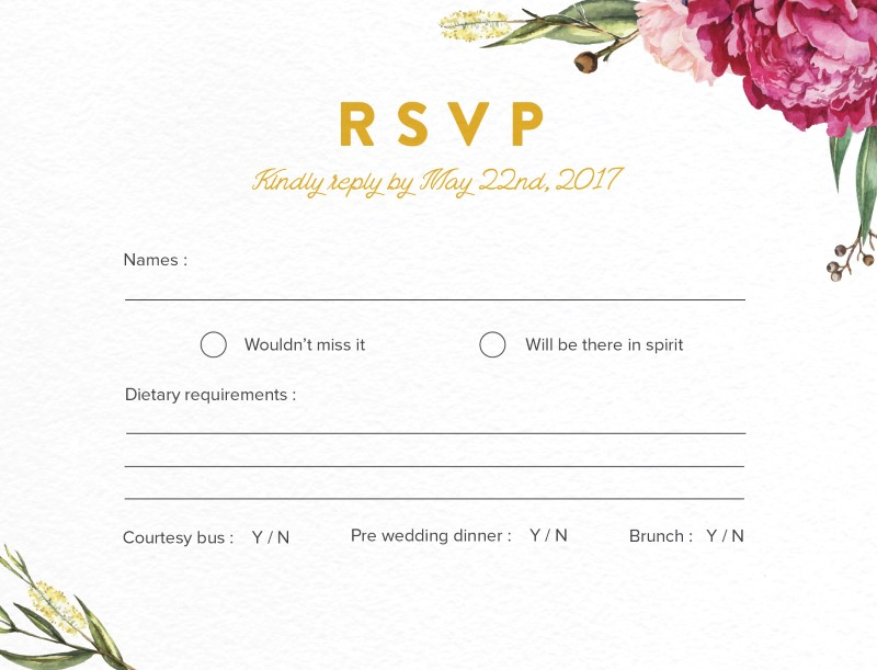 Garden Party - RSVP Cards