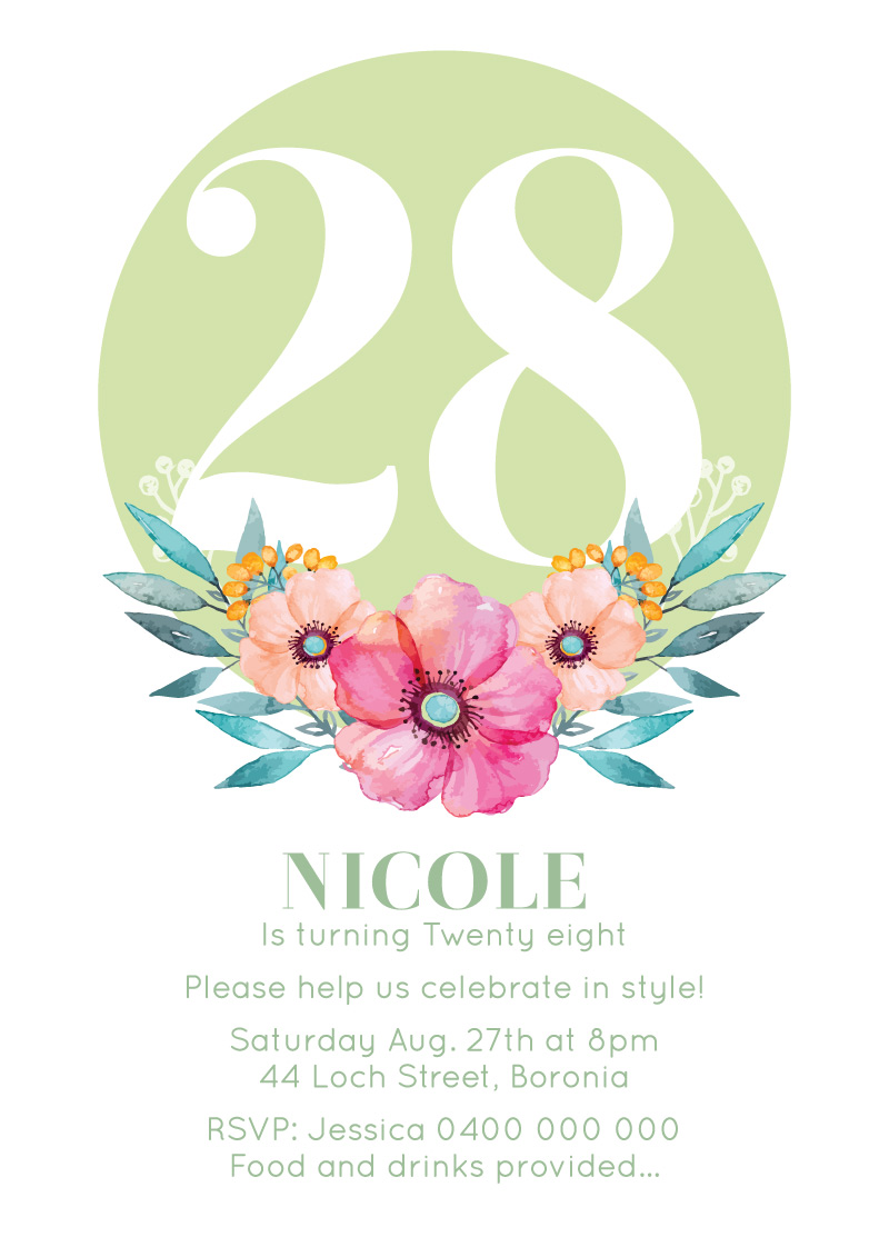 Say it with Flowers - Birthday Invitations