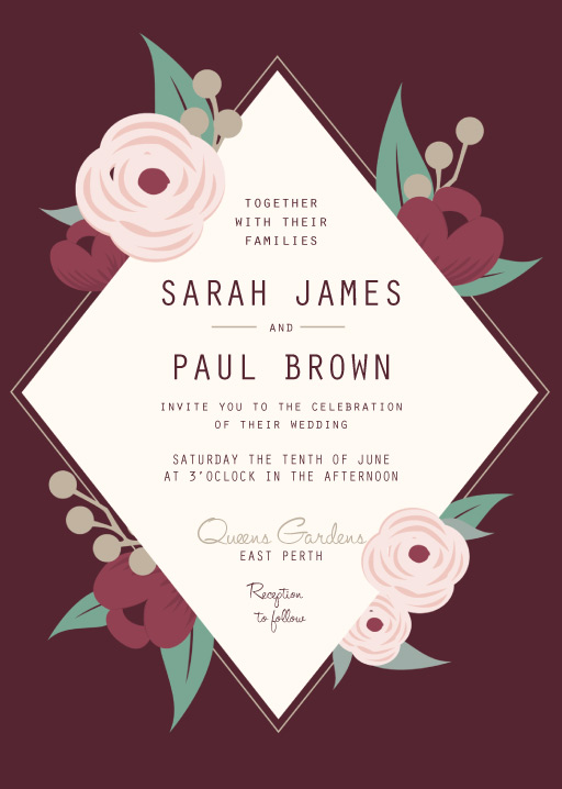 Burgundy Flowers - Invitations