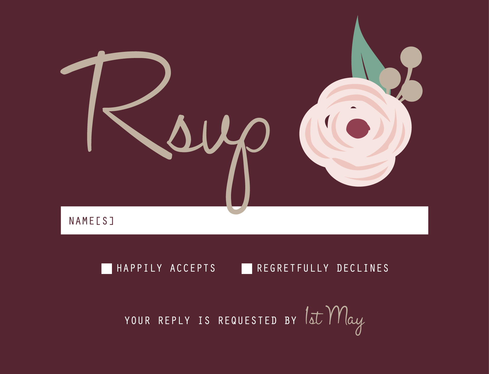 Burgundy Flowers - RSVP Cards