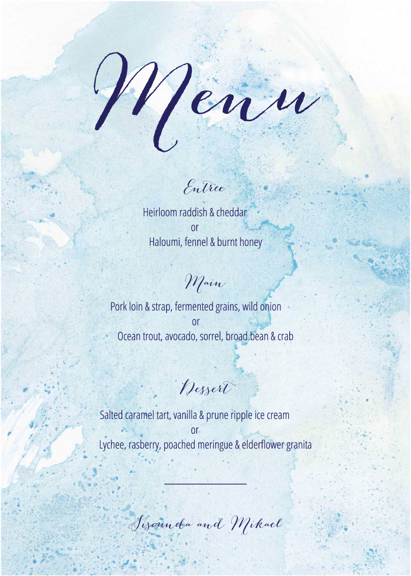Splash - Menu Card