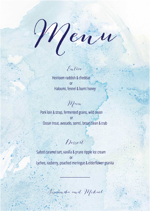 Splash - Wedding Menu