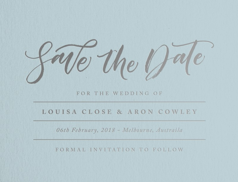 Blue script - Save The Date
