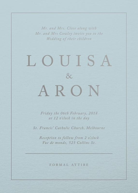 Blue script - Wedding Invitations