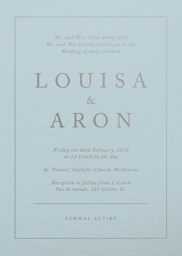 Blue script - Wedding Invitations