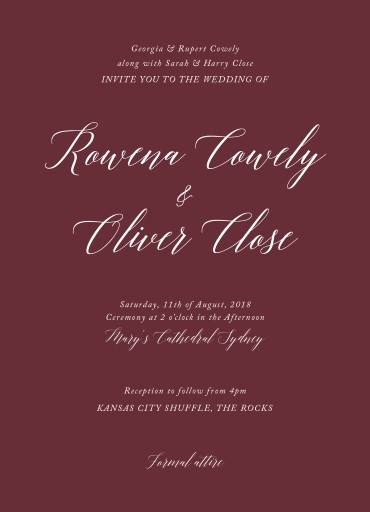Burgundy script Wedding Invitations - wedding invitations