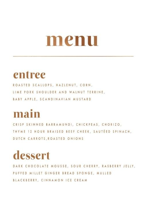 Minimalist Spot - Wedding Menu
