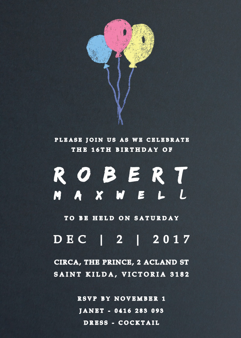 Chalk Balloons - Birthday Invitations