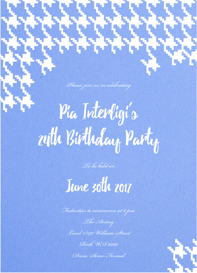 Digital Houndstooth - Birthday Invitations
