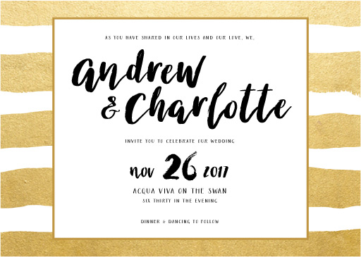 Brush and Bling Wedding Invitations - wedding invitations