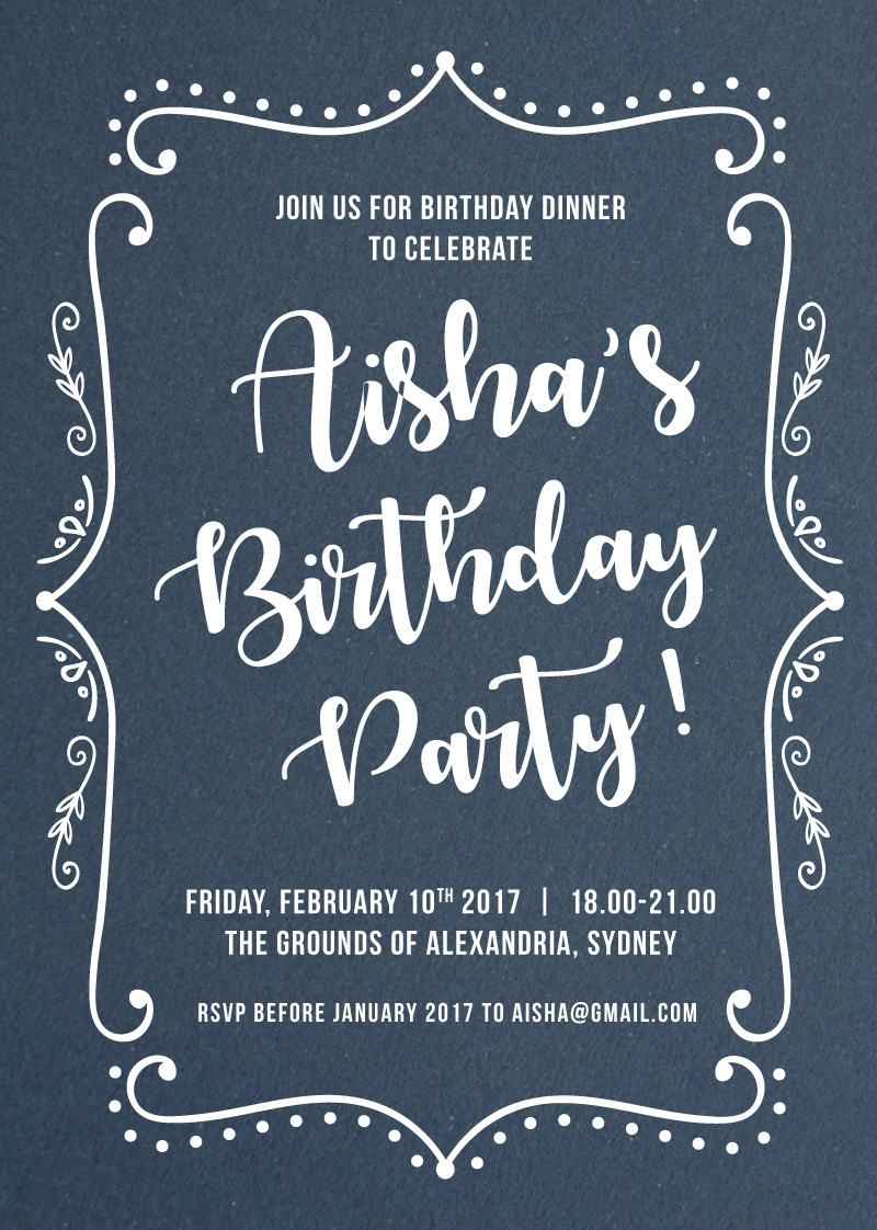 Mirror Frame - Birthday Invitations