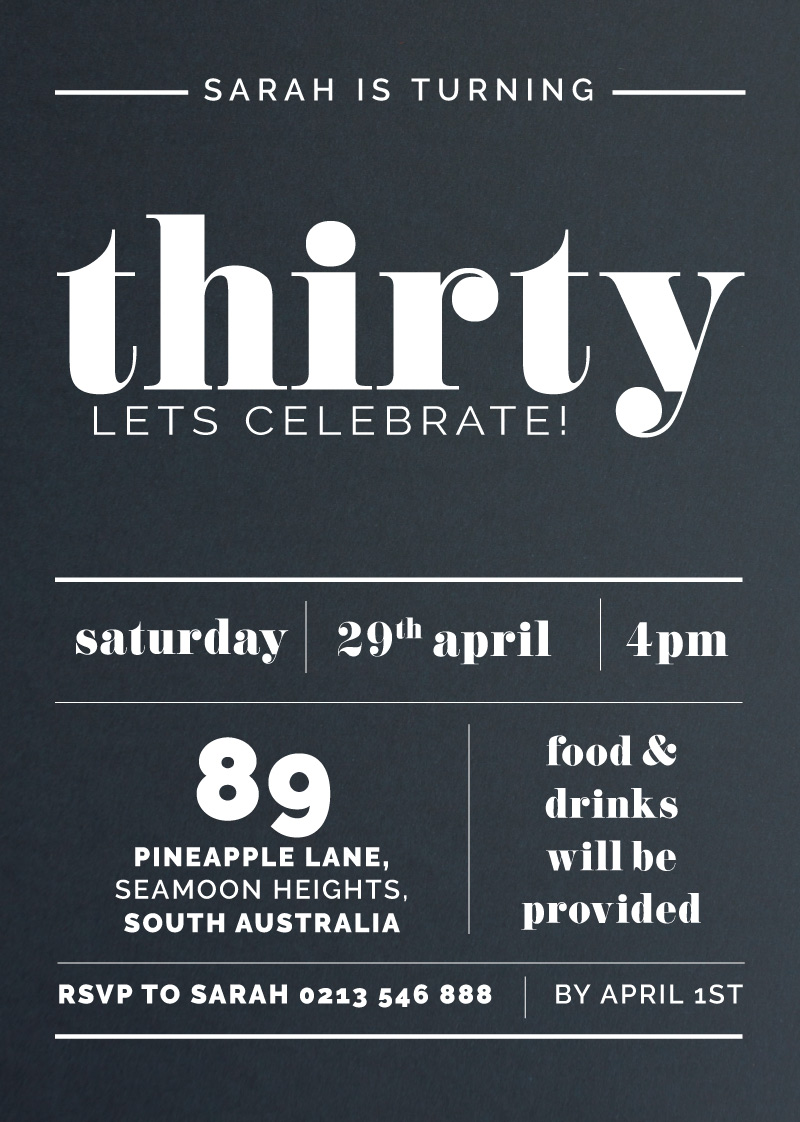Thirty in Reverse - Birthday Invitations