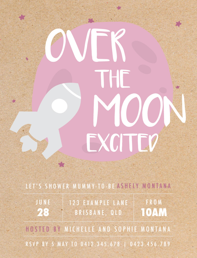 Over the Moon - Baby Shower Invitations