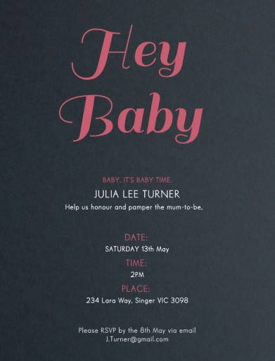 Hey Baby - baby shower invitations