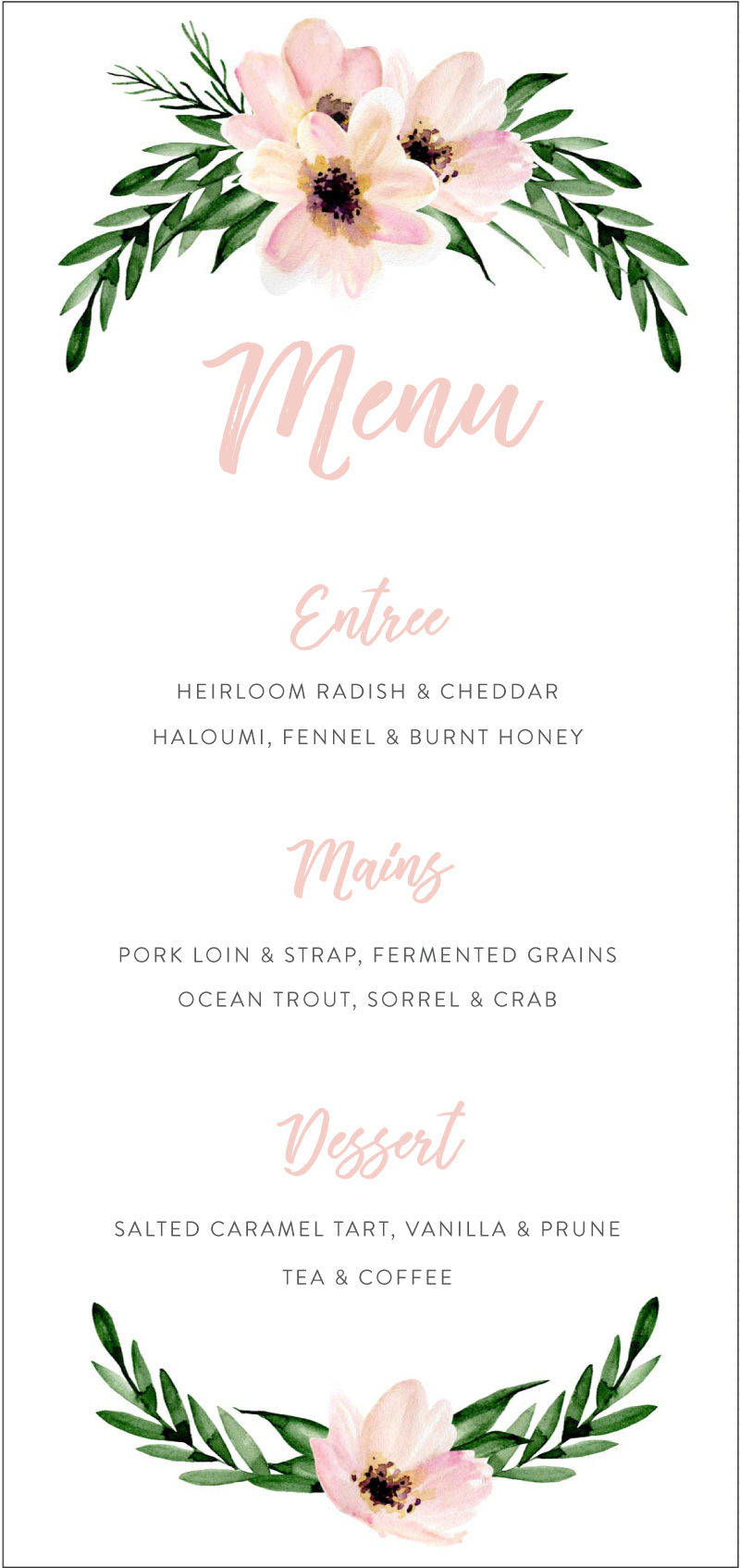 Hens Party - Menu