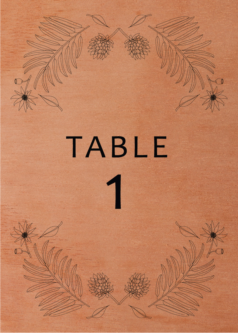 Australian Native Colour - Table Numbers