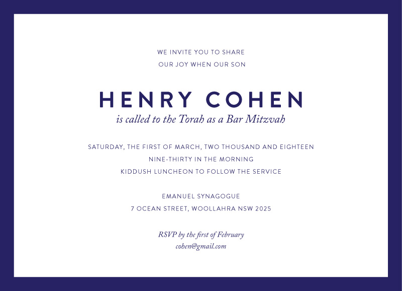 Minimal - Bar Mitzvah Invitations
