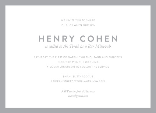 Minimal - bar & bat mitzvah invitations