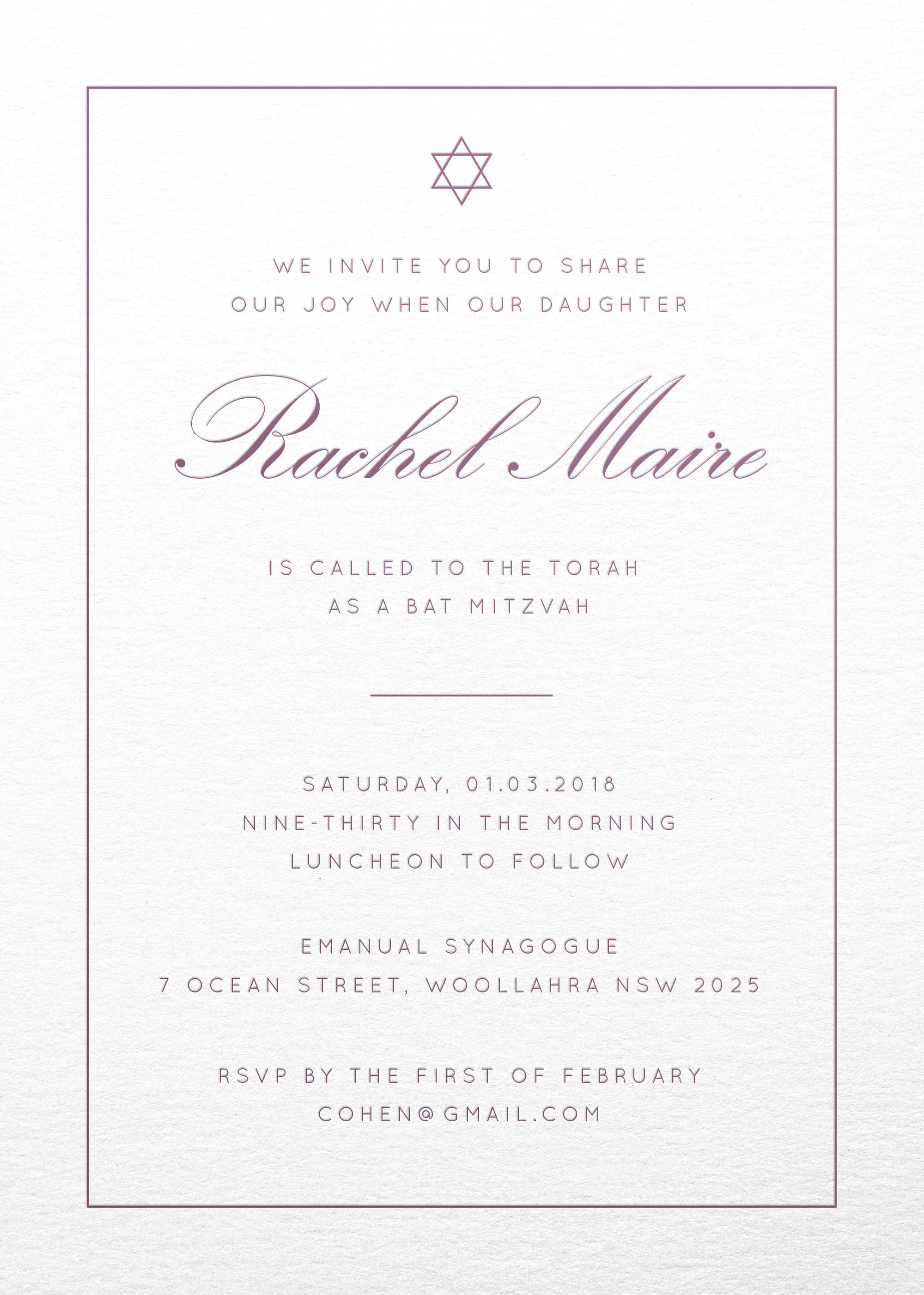 Into the Line - Bat Mitzvah Invitations