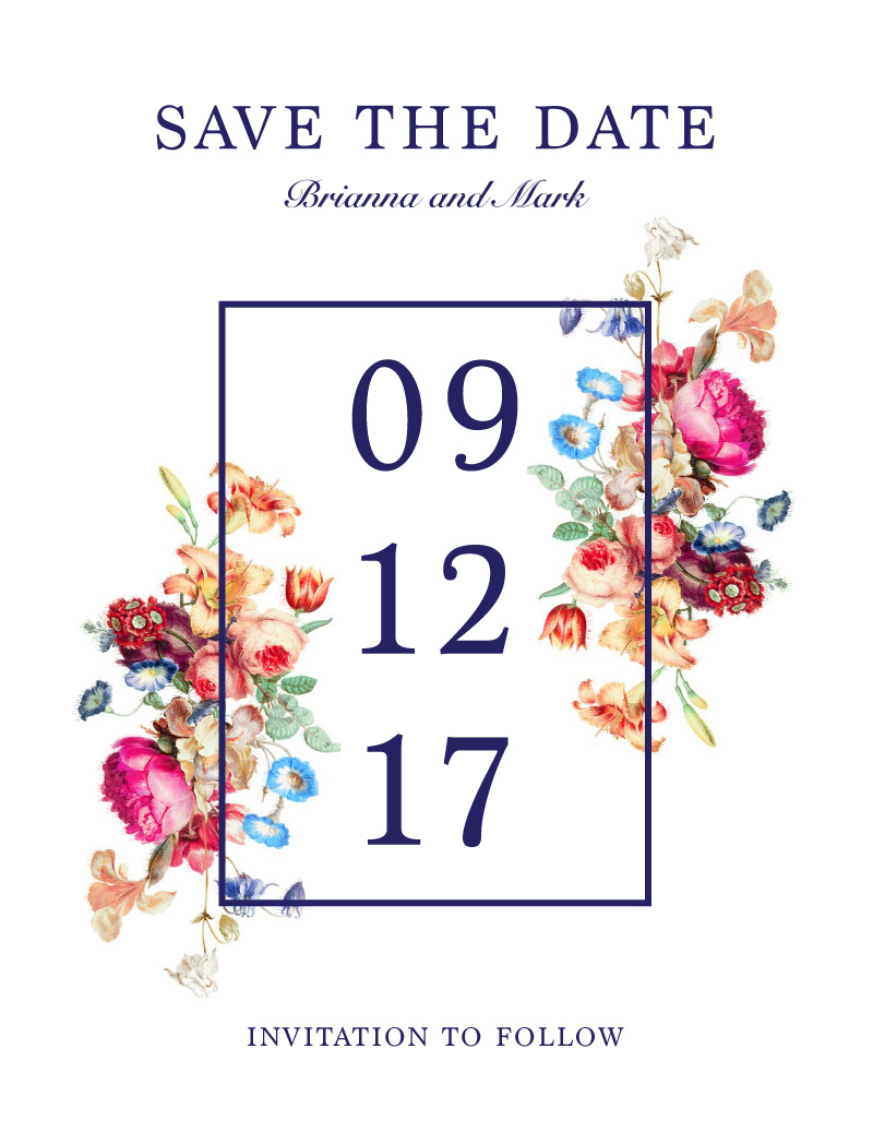 Vintage Floral - Save The Date