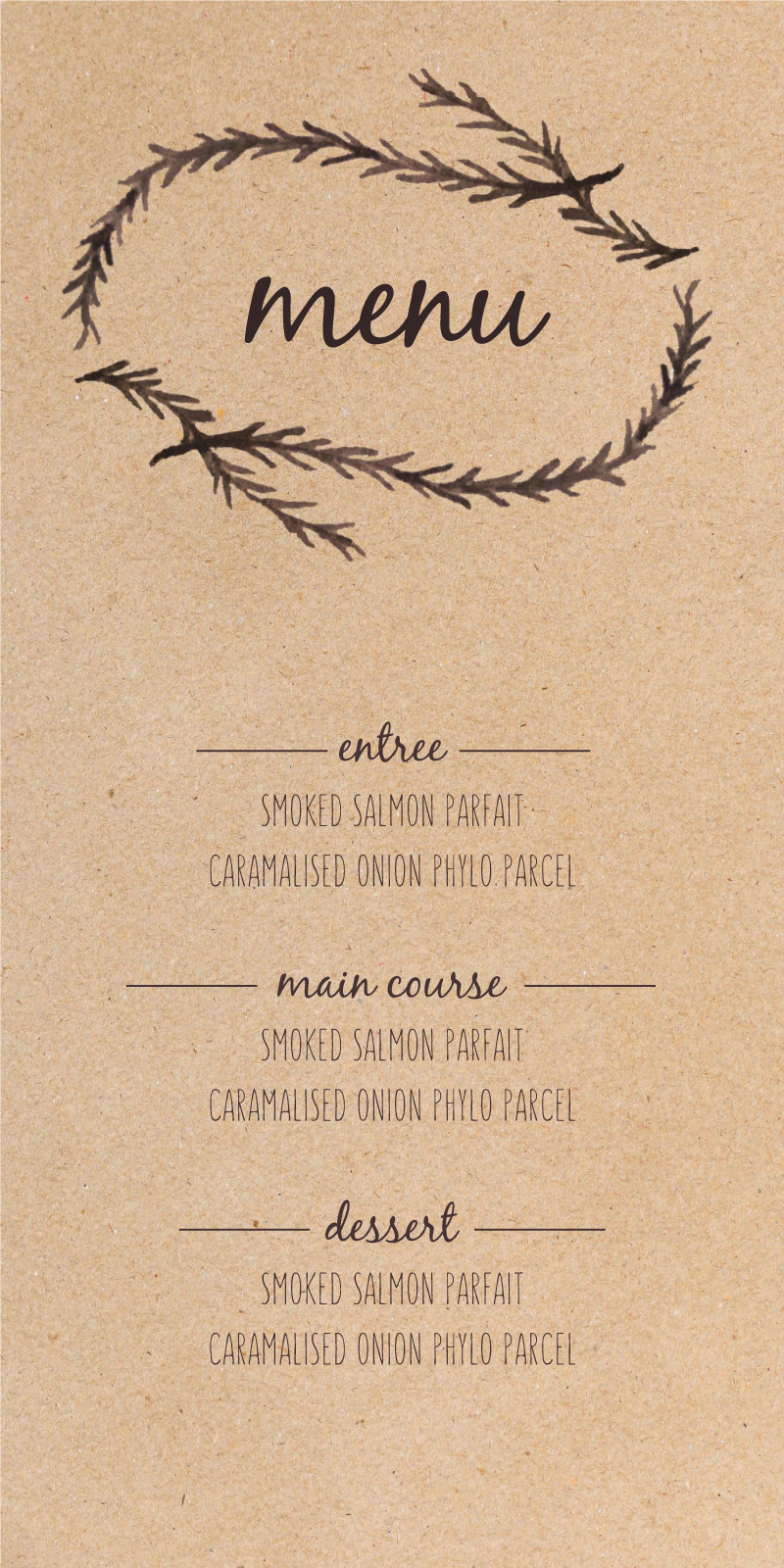 Forest Festivities - Menu