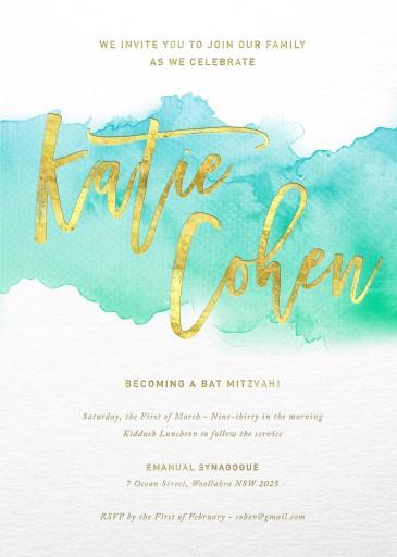 Turquoise - bar & bat mitzvah invitations