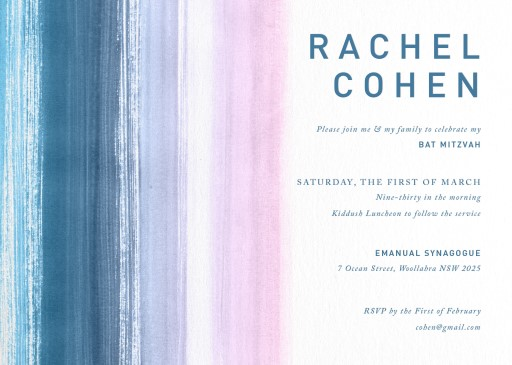 Watercolour Stripes - bar & bat mitzvah invitations