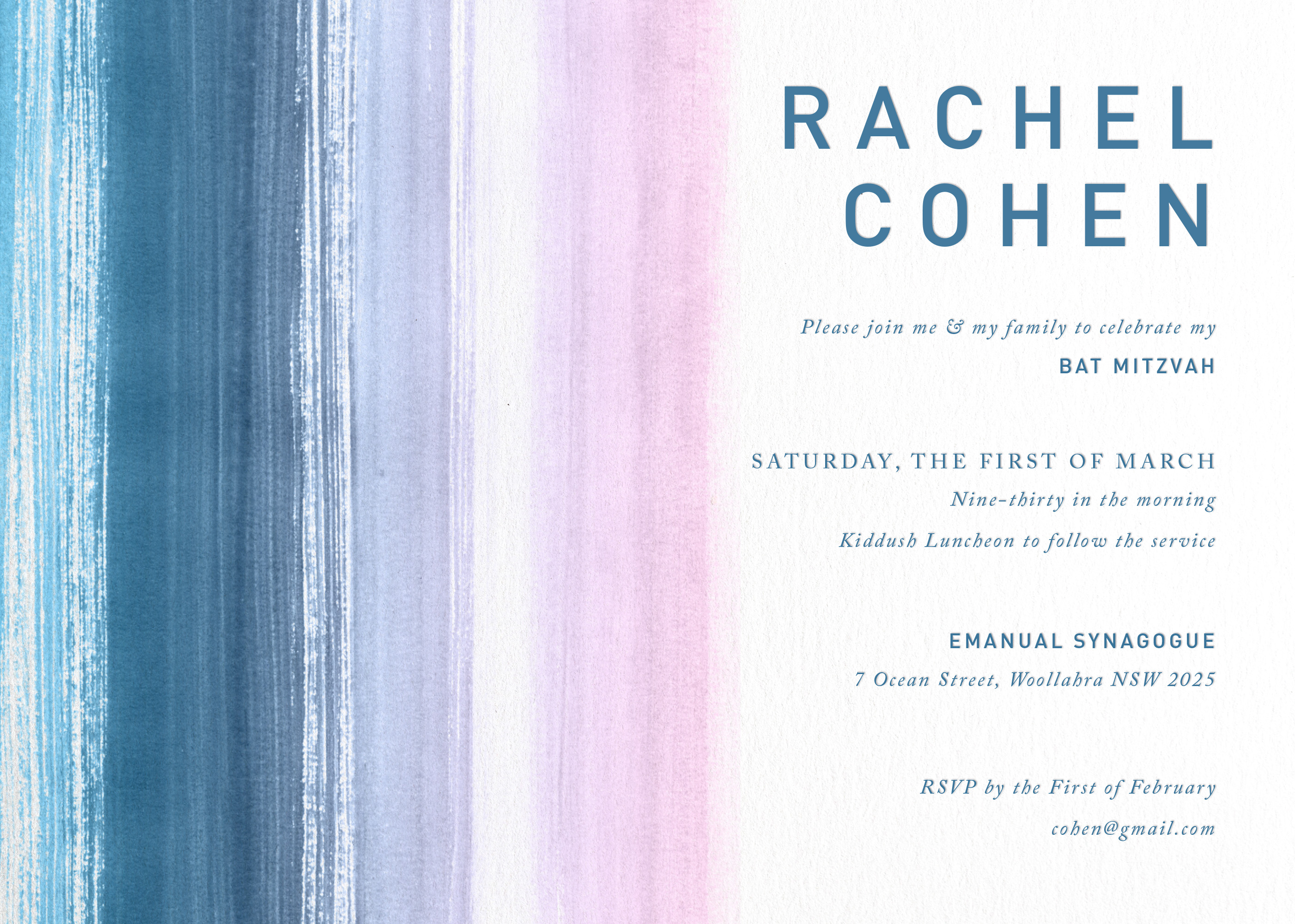Watercolour Stripes - Bar Mitzvah Invitations
