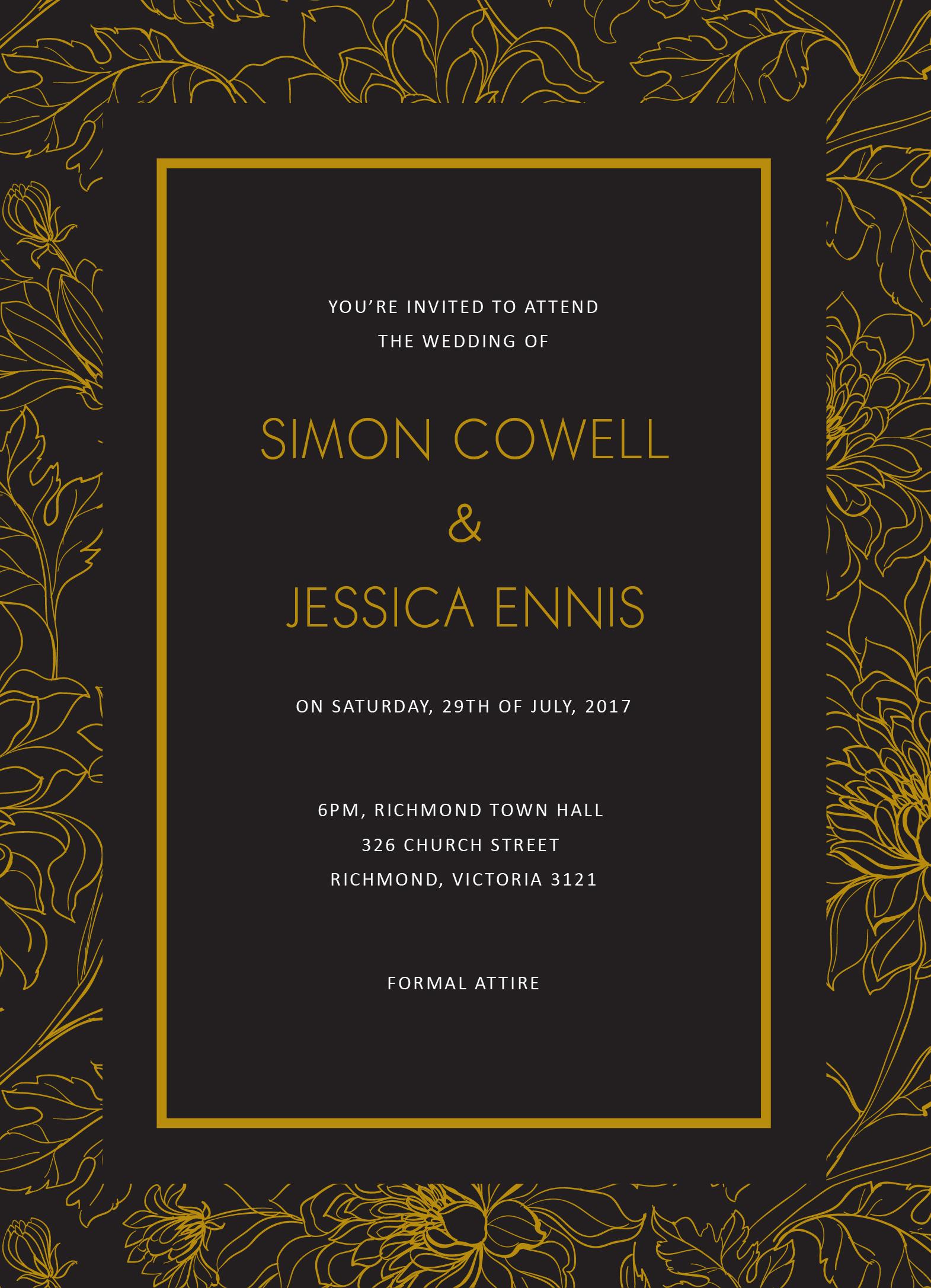 Gold Flower Illustration - Wedding Invitations