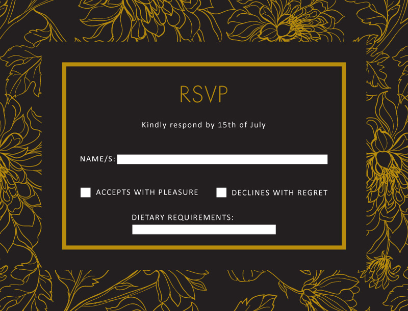 Gold Flower Illustration - RSVP