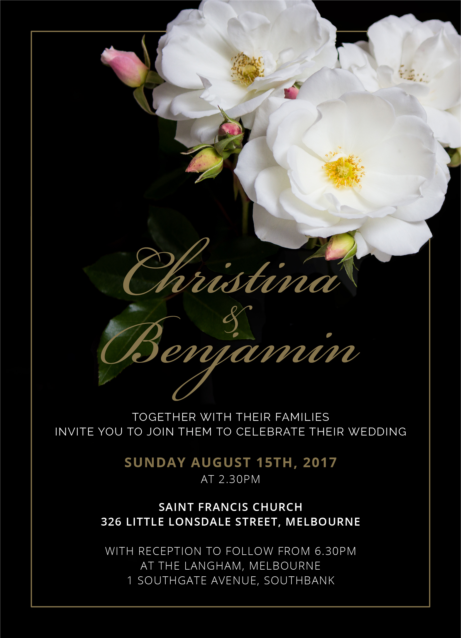 White Roses - Wedding Invitations