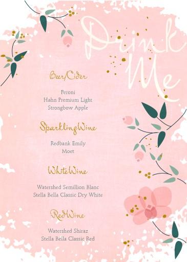 Pretty in Pink - Wedding Menu